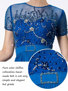 Jewel Neck Beaded Short Sleeve Mother of the Bride Dress