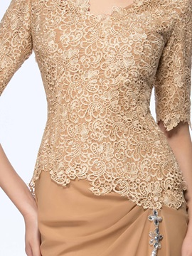 Vintage Half Sleeve Lace Mother of the Bride Dress