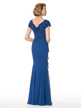 Sheath Cap Sleeve Beading Mother of the Bride Dress