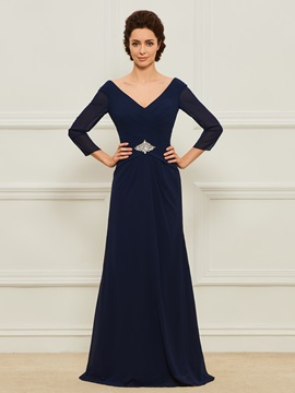 3/4 Length Sleeves Beaded Mother of the Bride Dress