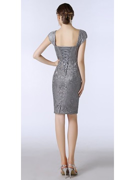 Sexy Cap Sleeve Sheath Short Mother of the Bride Dress with Jacket
