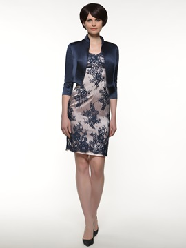 Short Sleeve Lace Mother of the Bride Dress with Jacket