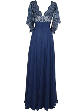 Elegant V Neck Lace Long Mother of the Bride Dress