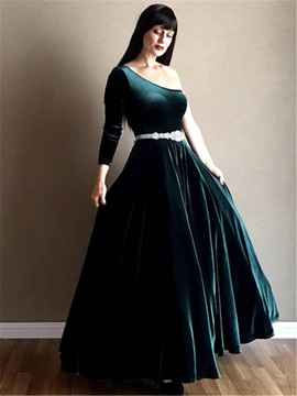 Beaded Belt One Shoulder Long Sleeve Velvet Mother of the Bride Dress
