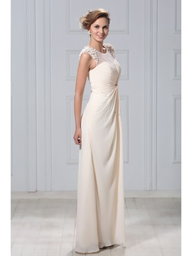 Illusion Neck Beaded Appliques Mother of the Bride Dress