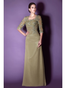 Appliques Sequins Half Sleeve Mother of the Bride Dress