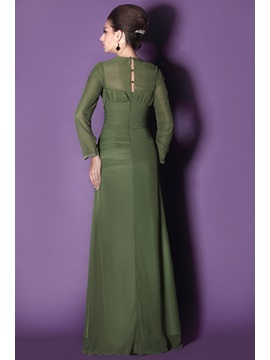 Modest Long Sleeves Sheath Square Neckline Taline's Mother of The Bride Dress