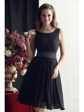 Buy Simple Ruffles Scoop Neck A-Line Knee-Length Sandra's Homecoming Dress