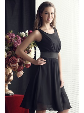 Simple Ruffles Scoop Neck A-Line Knee-Length Sandra's Homecoming Dress