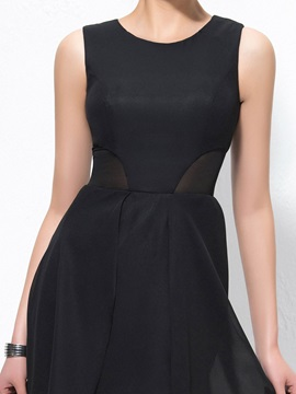 Simple A-Line Scoop Neck Zipper-up Asymmetry Cocktail Dress