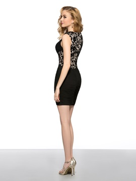 Sheath Straps Lace Ruched Beading Short Cocktail/Party Dress
