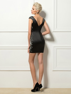 Deep V-Neck Sheath Cap Sleeves Beaded Short Cocktail Dress