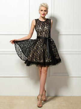 Jewel Sashes Lace Cocktail Dress