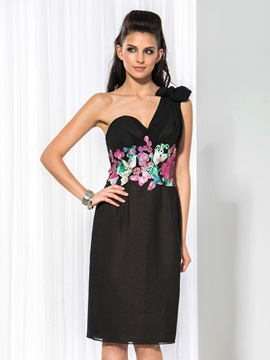 Cool One Shoulder Appliques Knee-Length Black Dress