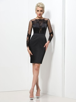 Elegant Jewel Neck Long Sleeve Sheath Lace Knee-length Black Dress