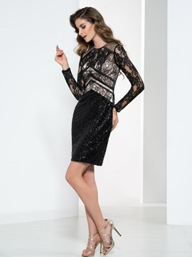 Formal Round Neck Long Sleeve Lace Sequin Cocktail Dress