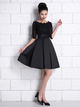 Half Sleeves Bowknot Lace Black Cocktail Dress