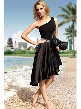 Chic One-Shoulder Beading Asymmetrical Little Black Dress