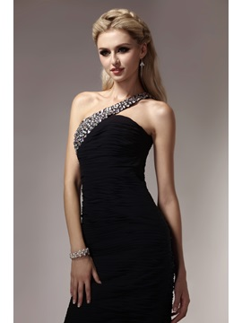 Cool Sheath One-Shoulder Knee-Length Beading Ruched Dasha's Party/Cocktail Dress