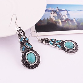 Turquoise Decorated Drop Earrings