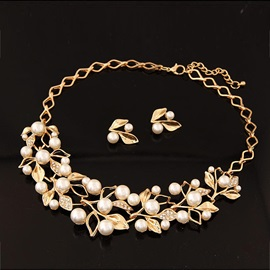 Leaf with Pearl Alloy Jewelry Set(Including Necklace and Earrings)