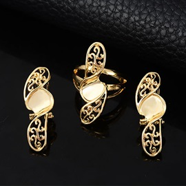 Stylish E-plating Hollow Jewelry Set for Women