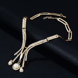 Hollow with Pearls E-plating Jewelry Set for Women