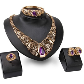 Hollow Out Purple Gems Jewelry Set(4 pieces)