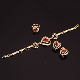 Beautiful Overgild Red Gemstone Jewelry Set(4 pieces)