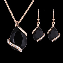 Chic Black Gemstones Jewelry Set for Women