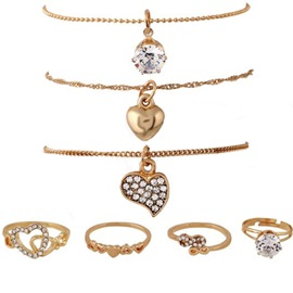Golden Heart Shaped Diamante Necklaces and Rings(7 pieces)