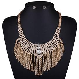 Alloy Diamante Beading Tassels Jewelry Set