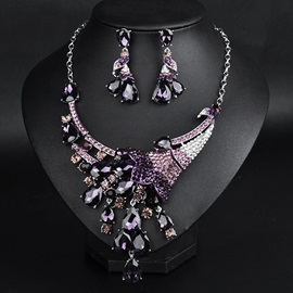 High Quality Alloy Crystal Flowers Jewelry Set