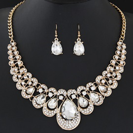 Shining Rhinestones Water Drop Gemstones Jewelry Set