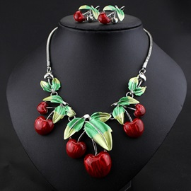 Splendid Red Cherry Jewelry Set
