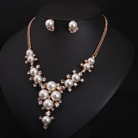 Sweet All Matched Pearls Jewelry Set(2 Pieces)