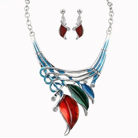 Leaves Pendant Oil Drip Jewelry Set
