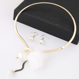 Pompons Decorated Metal Necklace & Pearl Earrings