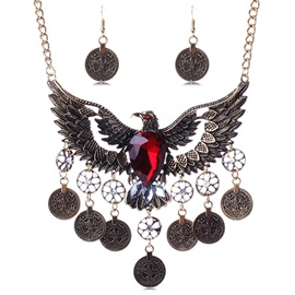 Retro Hollow Eagle Wings Jewelry Set