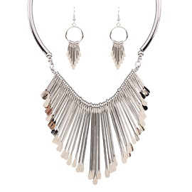 All Matched Metal Tassel Necklace and Earrings