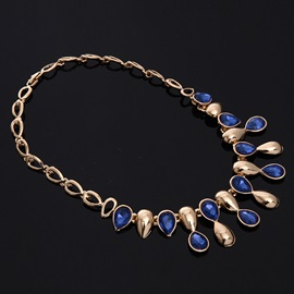Golden Blue Gemstones Inlaid Jewelry Set