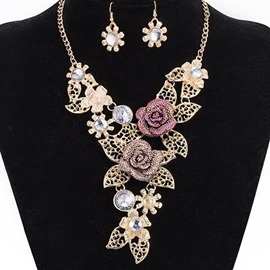 Charming Rose Design Alloy Jewelry Set