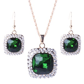 Square Gemstones Design Retro Jewelry Set