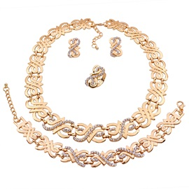 Chic Gold Plated Four Pieces Jewelry Set