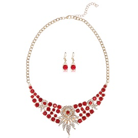 Colorful Crystal Flower Two Pieces Women's Jewelry Set