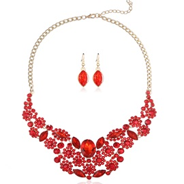 Red Crystal Flowers Design Jewelry Set