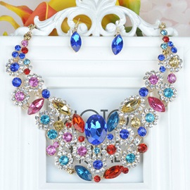Ruby Flowers Design Jewelry Sets