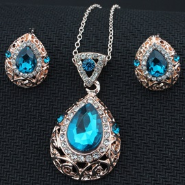 Blue Crystal Water Drop Shaped Jewelry Set