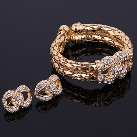 Graceful Double Layers Golden Diamante Jewelry Set