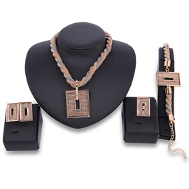 Multilayer Braiding Rectangle Hollow Jewelry Set
